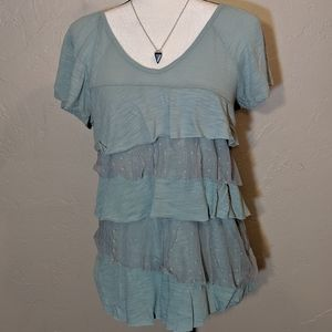 Mint Ruffled Top with Lace Back  by Maurice -Large